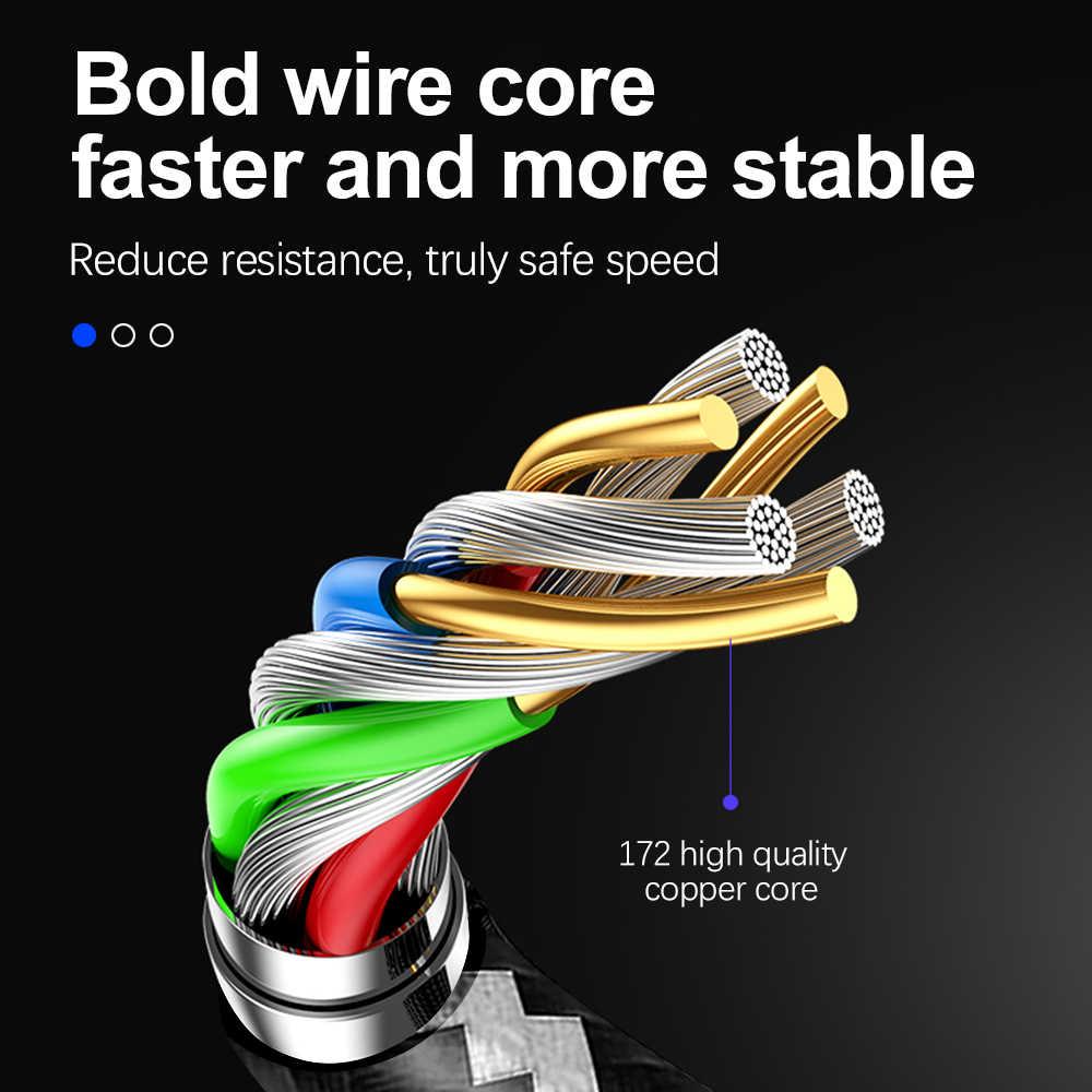 Nilon Dikepang USB Tipe C Kabel 1M Sinkronisasi Data Pengisian Cepat untuk Xiaomi Mi9 Samsung Galaxy S10 Huawei Usb ponsel Kabel Tipe C