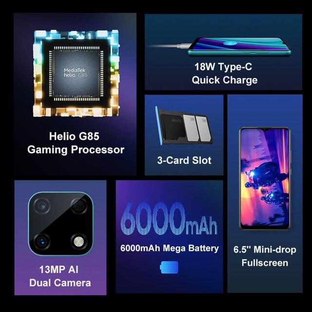 Realme narzo 30a versão global smartphone 4gb 64gb helio g85 6.5 Polegada fullscreen 13mp ai câmera dupla 6000mah 18w carga rápida 2