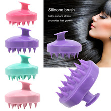 Comb Handheld 5 Colors Silicone Scalp Shampoo Massage Brush Washing Comb Shower Head Hair Mini Head Meridian Massage Wide Tooth green sandalwood combed wooden head neck mammary gland meridian lymphatic massage comb wide teeth comb