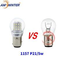 Amywnter 12V 1157 P21/5W BAY15D P21W Led 1156 BA15S PY21W 1056 หลอดไฟLEDหยุดเบรคไฟs25 เลี้ยวสัญญาณ