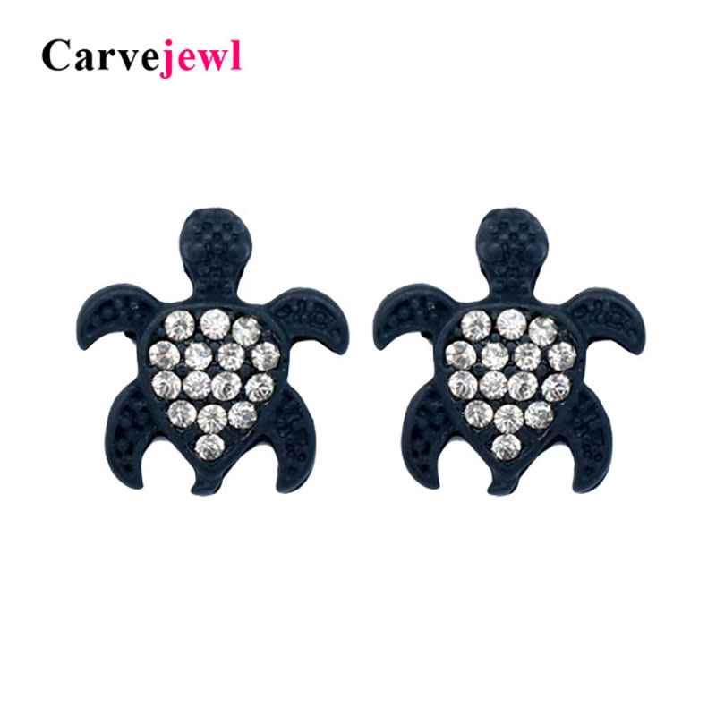 Silver Fashion Simple Mini Hollow Turtle Silver Plated Ear Stud Earrings Jewelry Gift