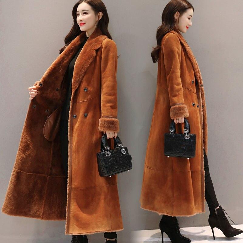 Большие размеры XXXL зимняя замшевая куртка женская элегантная плюс бархатная утепленная длинная куртка женские парки теплое пальто Manteau Femme C5851