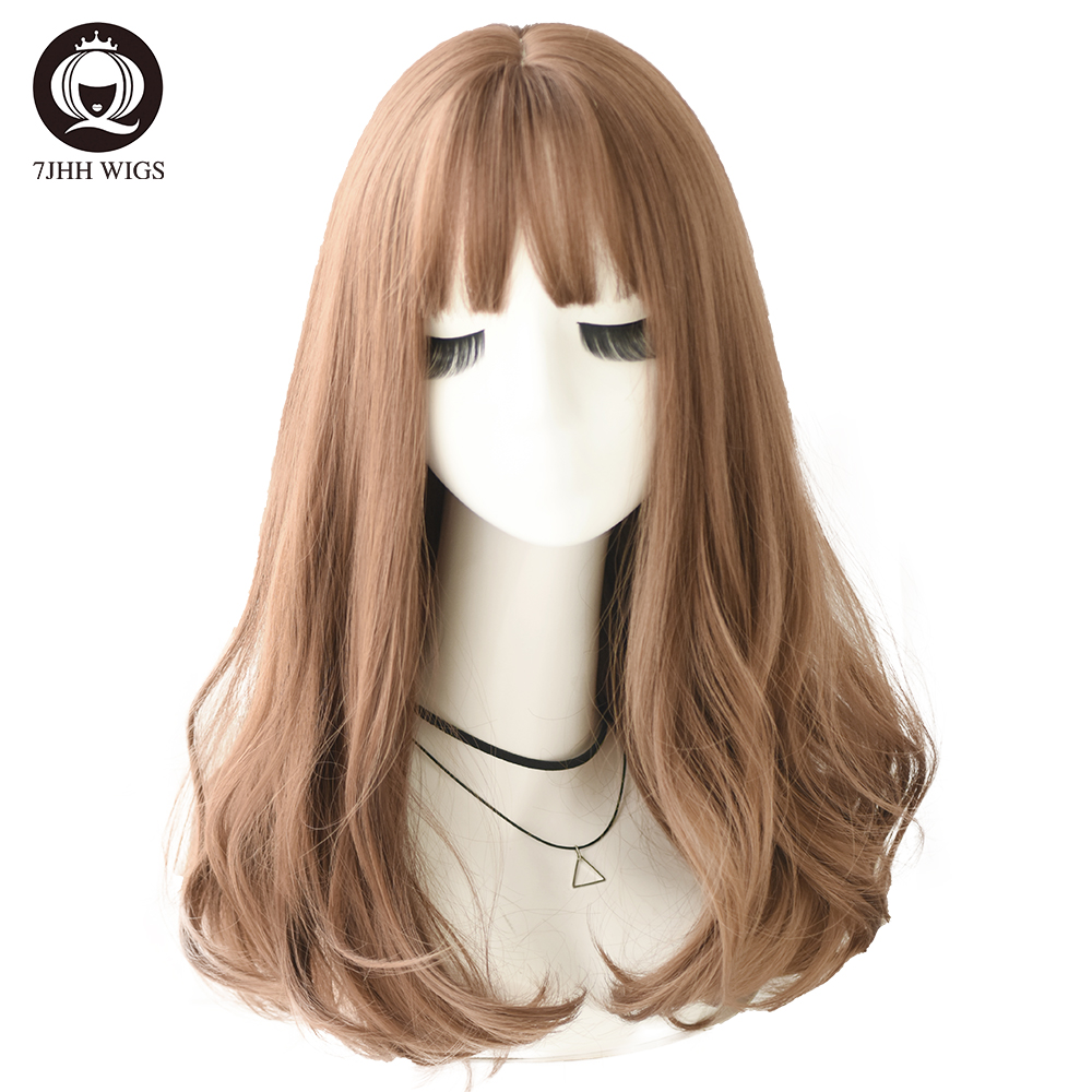 7JHH WIGS Synthetic Wigs With Bangs For Women Long Deep Wave Hair Fashion Cosplay Natural Heat Resistant Inhair Cube Lolita Wig