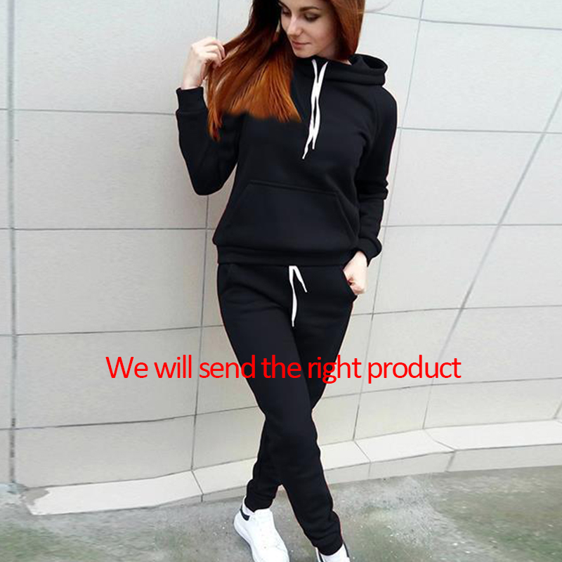 2019 Autumn Winter Women Tracksuit Set Long Pants Set Printed Sportwear Hooded Sweatshirt Pullover Trousers Suits With Pocket