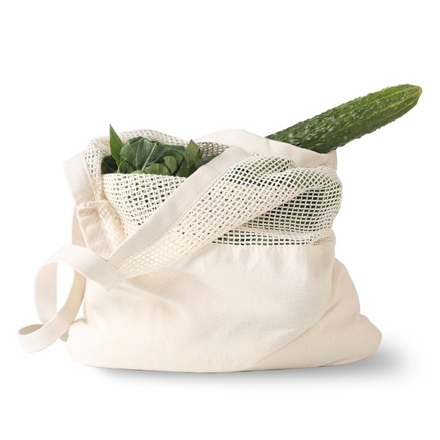 Eco friendly Vegetable Storage Bag reusable Cotton Net Bag For Fruit Vegetable Cotton Shopping Bags With Long Handle 3