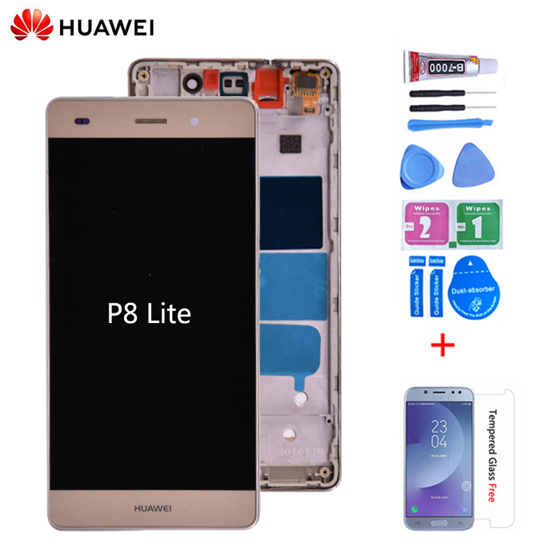 Original For Huawei P8 Lite ALE-L04 ALE-L21 LCD Display With Touch Screen Digitizer Assembly With Frame Black White Gold