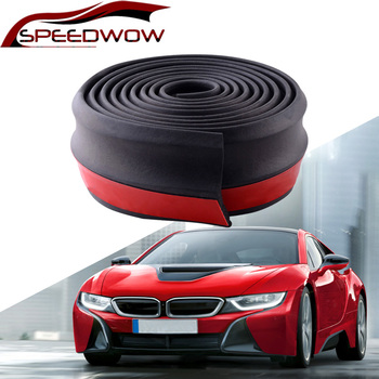 SPEEDWOW Universal Car Front Rear Side Bumper Lip Splitter Rubber Protector Body Spoiler Valance Chin Rubber Car Bumper Lip 2.5M