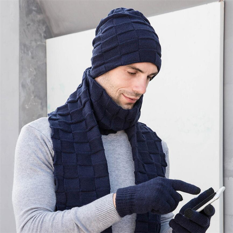 Men Knitted Long Scarf Hat Gloves 3 Piece Set Man 2019 Winter Warm Plush Protection Ear Cap Scarves And Touchscreen Gloves