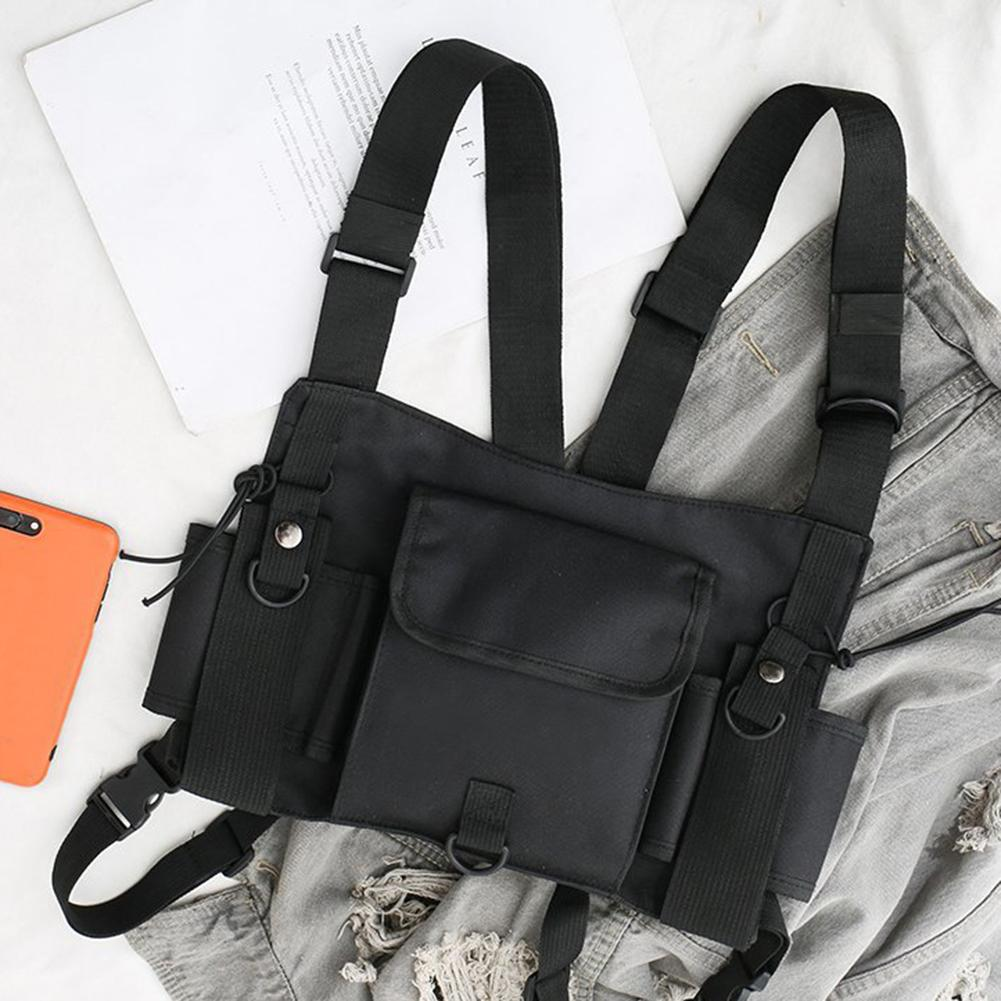 Unisex Outdoor Adjustable Vest Chest Hanging Bag Double Shoulder Waist Pouch