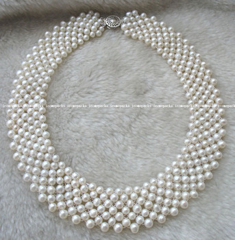 """wholesale 5-6mm freshwater pearl handcraft white round necklace 16"""""""
