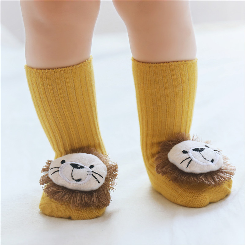 Baby Socks Floor Non-slip Cotton Cartoon Newborn Socks 3D Lion/bow 2019 Autumn Winter Baby Girls Boys Soft Warm Cute Boots