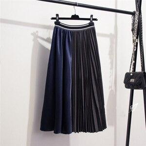 Image 2 - Женская юбка с оборками Marwin, зимняя Мягкая юбка контрастных цветов в стиле ретро, до середины икры, в европейском стиле, на Рождество
