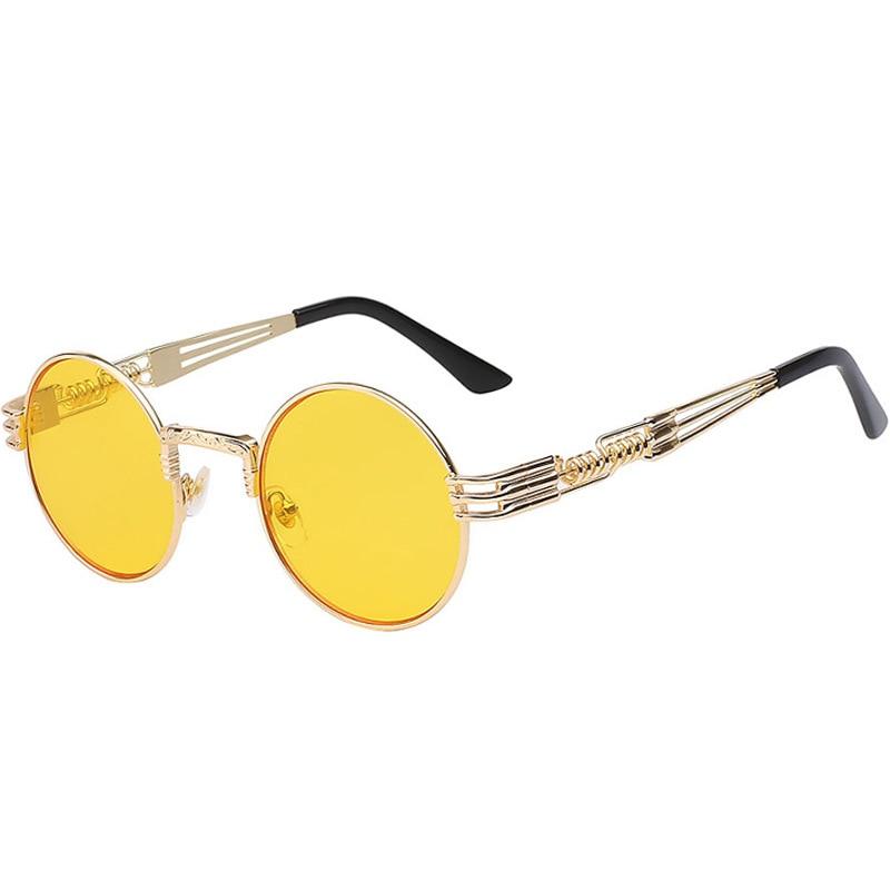 Retro Gothic Steampunk Style Round  Sunglasses Fashion Men Women Brand Designer  Round Frame Metal Surround Frame Sunglasses