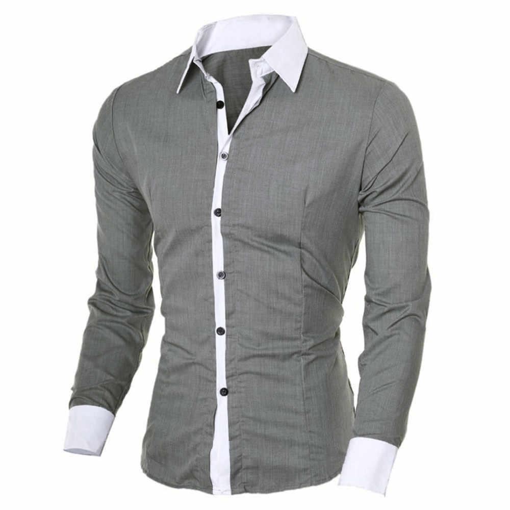 الحرة النعامة موضة قميص رجالي عادية سليم بأكمام طويلة قميص بلوزة متعدد الألوان الوقوف الرقبة قميص الرجال العصرية 91126