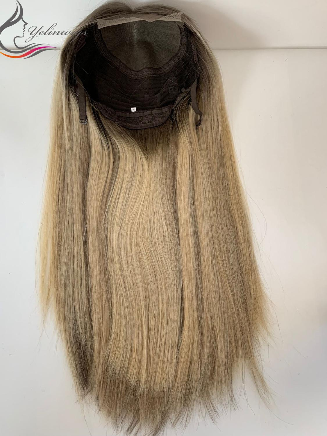 Factory Price Blonde Color Dark Root Lace Top Wigs European Hair Lace Top Wig Jewish Wig Kosher Wigs