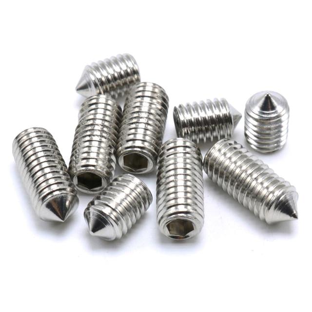 Vis à filetage métrique hexagone | DIN914 M2 M3 M4 M5 M6 M8 M10 4 6 8 10 12 16 20mm 304 acier inoxydable A2 vis à embout hexagonal