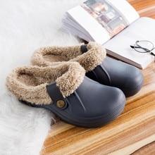 Зимние теплые шлепанцы унисекс с мехом для сада; женские и мужские сандалии; модная обувь; Вьетнамки; шлепанцы без задника; домашняя Уличная обувь;# C