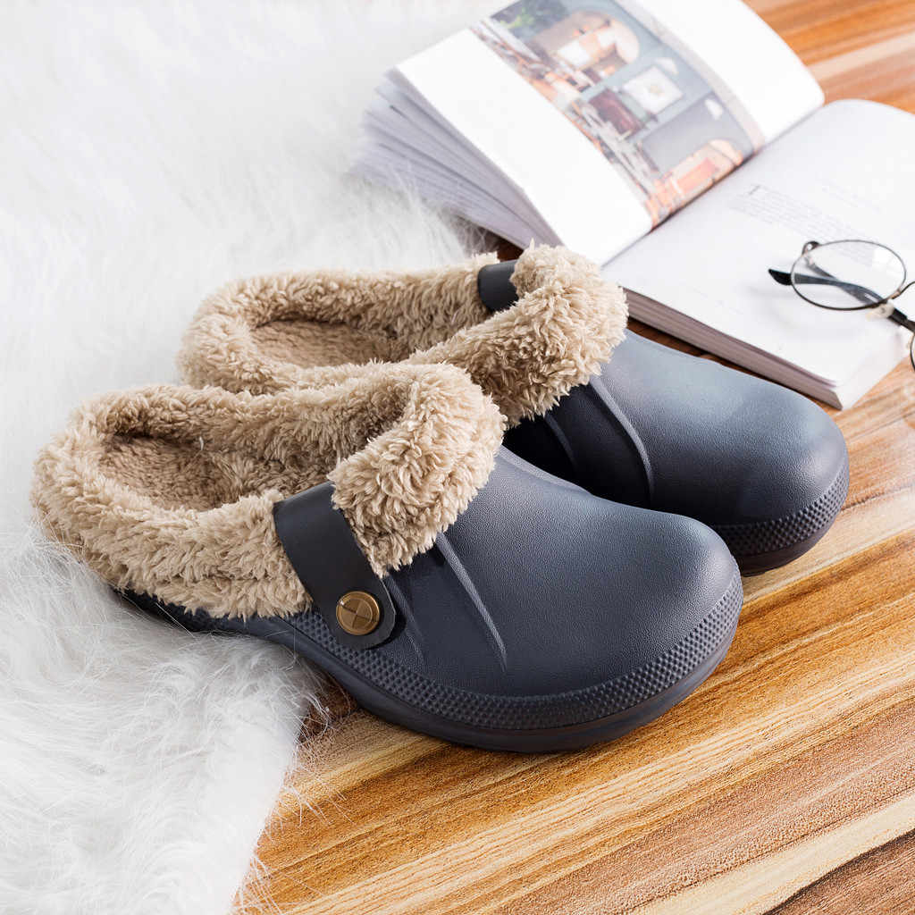 2019 Winter Unisex Tuin Bont Warm Slippers Sandalen Vrouwen Mannen Mode Schoeisel Slippers Mule Slides Indoor Outdoor Schoenen # C