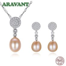 Wedding Jewelry Set 925 Silver Pave Zircon Pearl Pendant Necklace Drop Earring Women Fine Jewelry