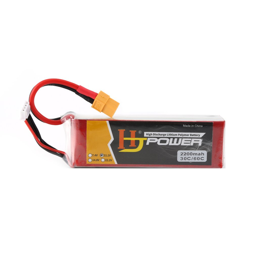 HJ 11.1V 2200MAH 70C 3S Lipo Battery XT60 Plug Rechargeable for RC Racing Drone Helicopter Car Boat Model image