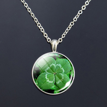 Long Silver Necklace Charm Four Leaf Clover Lucky Clovers Glass Cabochon Pendant Jewelry