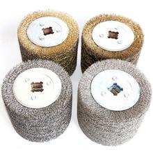 1 חתיכה נירוסטה חוט מברשת גלגל עץ צבע פתוח ליטוש גלגל הסרת שבבים עבור חשמלי לרצועות מכונת