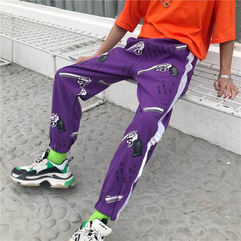 National Trends Street Popular Brand Couples INS Super Fire Collusion Sports School Uniform Pants Hip Hop Hip Hop Men And Women