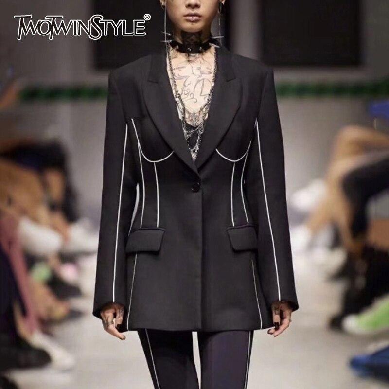 TWOTWINSTYLE Elegant Striped Women's Blazer Notched Long Sleeve Pocket Female Coat Autumn Fashion New 2019 Ladies OL Style