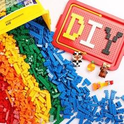 1000/500 Uds juego de bloques de construcción ciudad creadora DIY juguetes creativos para niños educativos a granel ladrillos compatibles con LegoED pequeños bloques