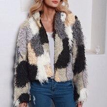 Windproof Warm Coat Women Hiking Jacket 2019 Autumn Winter Slim Ladies Shaggy Faux Fur Fashion Long Sleeve Outwear