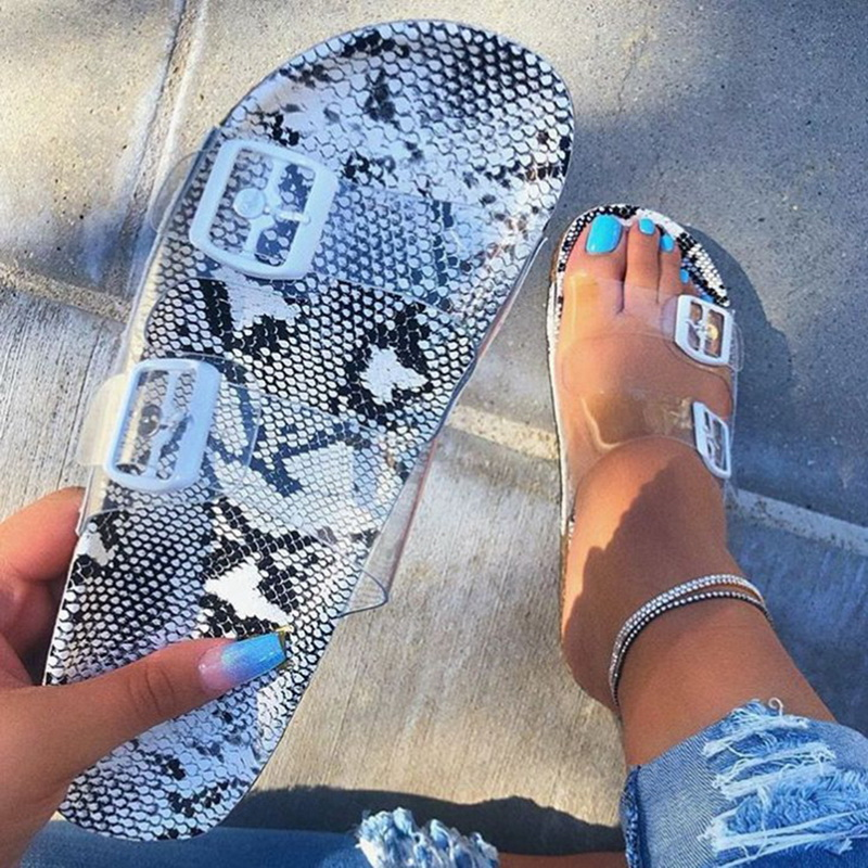 Women Transparent Jelly Snake Pattern Female Beach Slippers Women Summer Sexy Flat Sandals Soles Fashion Lady Buckle Slippers