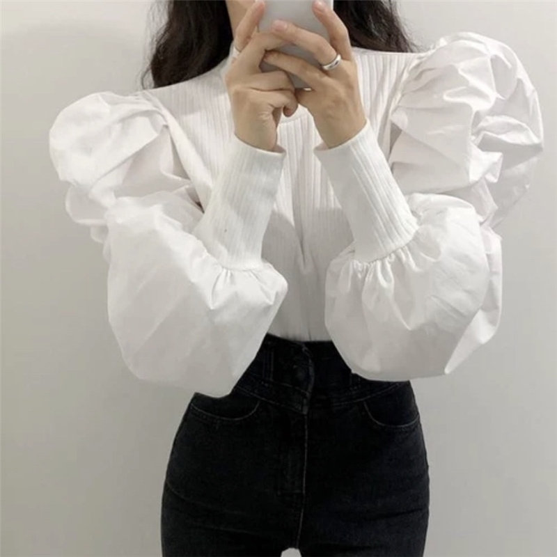 Alien Kitty Thread Female All-Match Lantern-Sleeved 2020 Solid Autumn Sweet Fashion Loose Free High Quality Casual Basic Shirt
