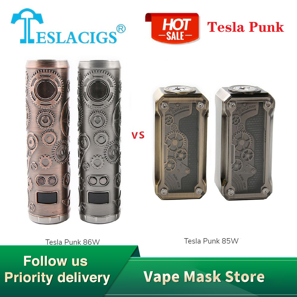 Hot Sale Original Tesla Punk 86W Mod Vs Tesla Punk 85W Box Mod Power By 18650 Battery E-cig Vape Box Mod Vs Tesla Nano / Drag 2