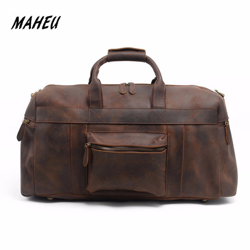 MAHEU 60cm Exlarge Gigantic Travel Leather Bag Men Genuine Leather Roomy Travelling Handbags Big Shoulder Bags For Long Journey