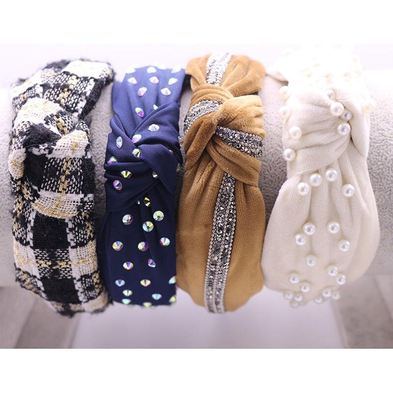 Bohemian Vintage Velvet Knot Hairband Handmade  Headband Customized Hair Accessories