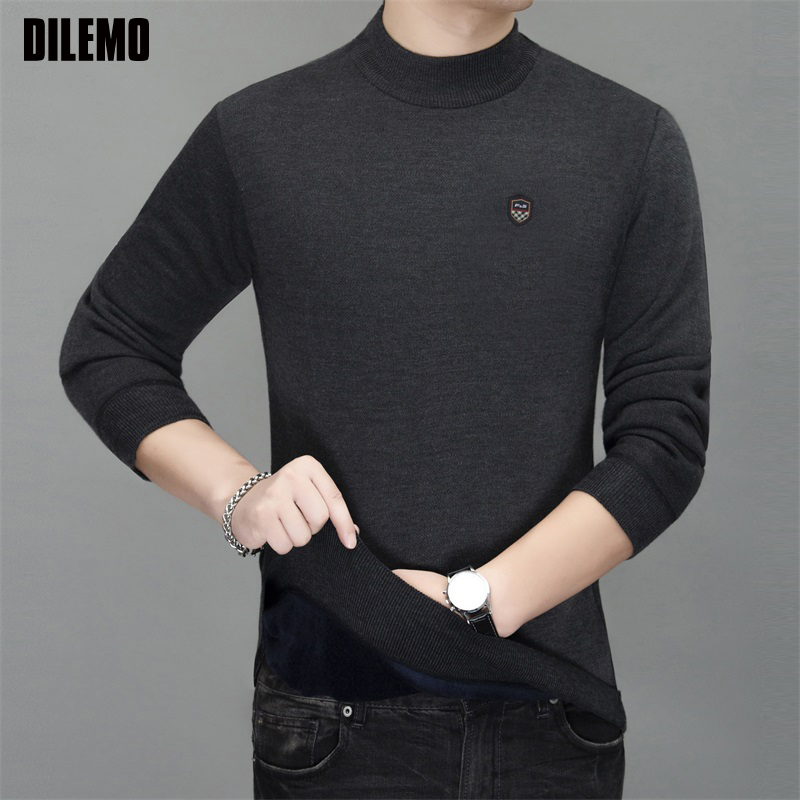 Thick Velvet Warm New Fashion Brand Sweater  Man Pullovers Slim Fit Jumpers Knitwear Autumn Korean Style Casual Mens Clothes