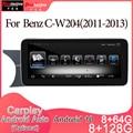 Android 10 Автомобильный мультимедийный DVD стерео радио плеер GPS навигация Carplay авто для Mercedes Benz C-W204(2011-2013) 2din