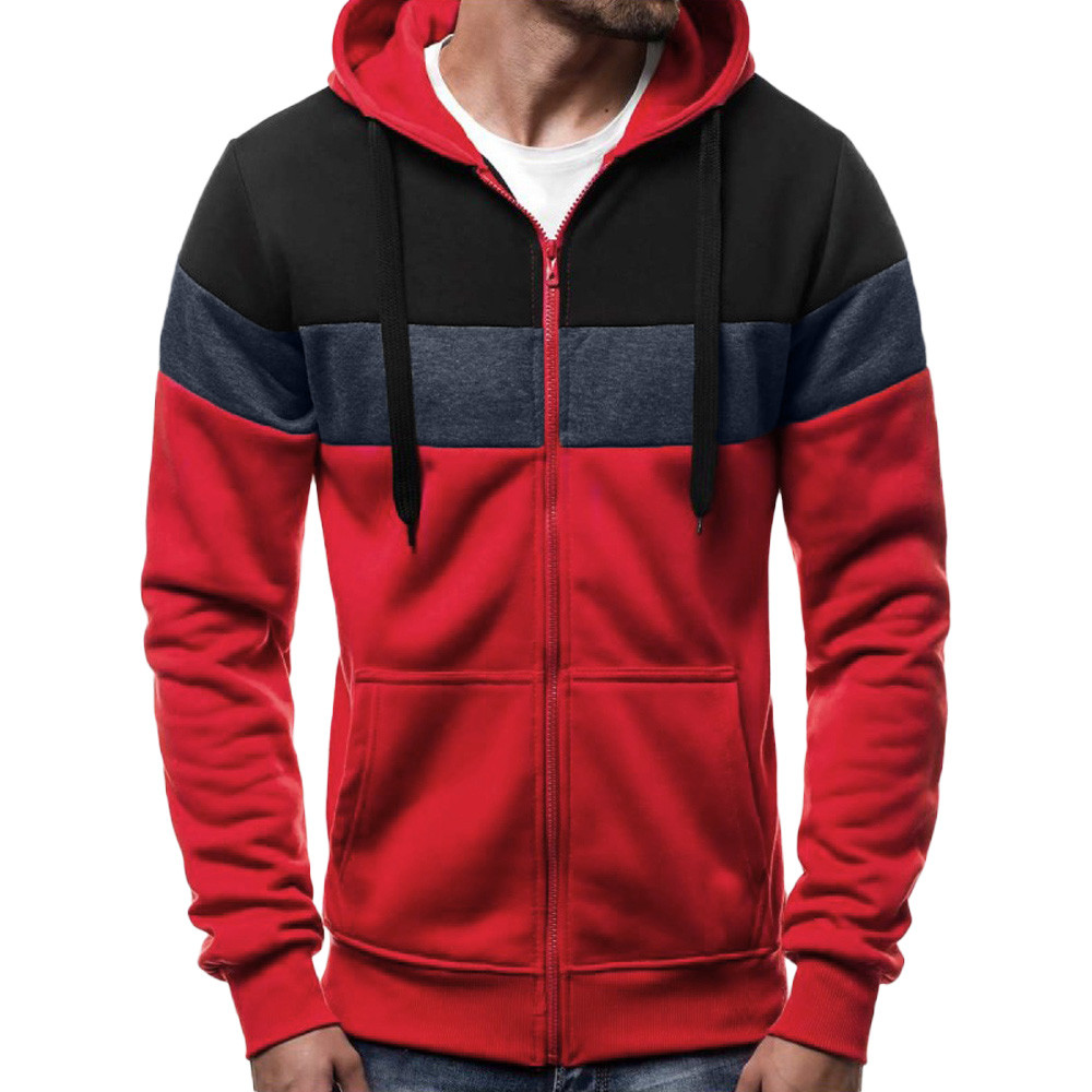 JAYCOSIN Men's Long Sleeve Autumn Winter Patchwork Zipper Hoodies Top Blouse Tracksuits Casual Fashion Hip Hop Punk Screw aug 26
