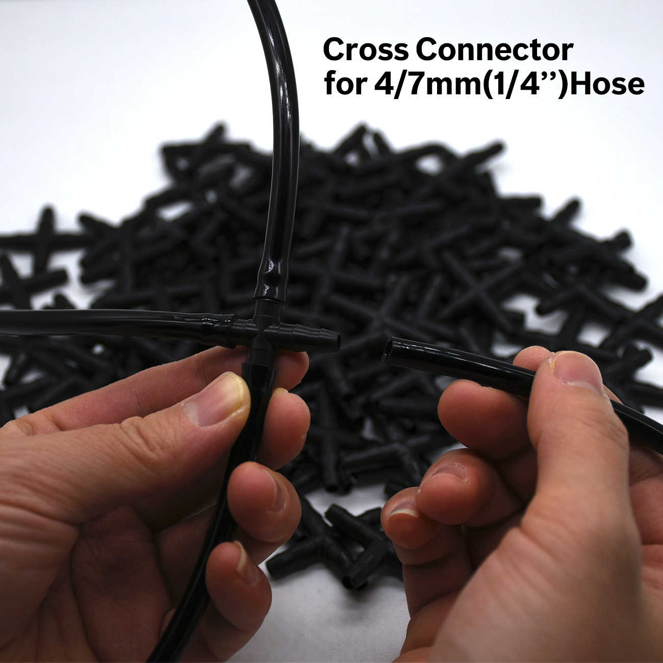 10PCS 1/4 ''Croce Connettore per 4/7 millimetri Micro Tubi Tubo 4 Modi Spinato Adattatore di Irrigazione goccia a goccia giunto trasversale Connettori
