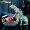 ERMAKOVA Resin Hippo Statue Hippopotamus Sculpture Figurine Key Candy Container Decoration Home Table Decoration Accessories 1