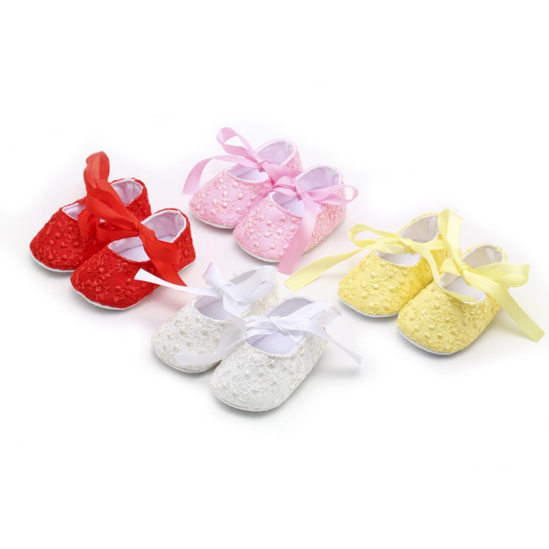 Baby First Walker Princess Pink White Crib Shoes Infant Toddler Girls Soft Prewalker 0-18M