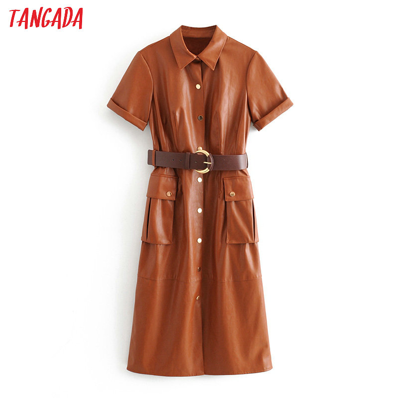 Tangada Women PU Faux Leather Dress With Belt Short Sleeve Retro Elegant Ladies Brown Mid Dress Vestido 3H166