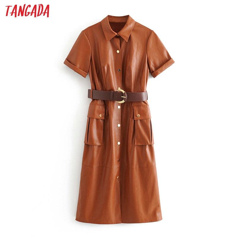 Tangada женское платье из искусственной кожи с поясом и коротким рукавом в стиле ретро элегантное коричневое платье средней длины vestido 3H166