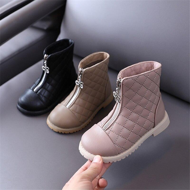 2020 новые осенние ботинки для девочек, кожаные детские ботинки, обувь принцессы, водонепроницаемые ботильоны на молнии, модные детские ботинки, размер 26 37 Сапоги      АлиЭкспресс