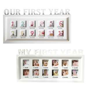 Photo-Frame Baby-Album Wooden Growth 12-Month for Wall-Hanging Table Souvenir Dust-Proof