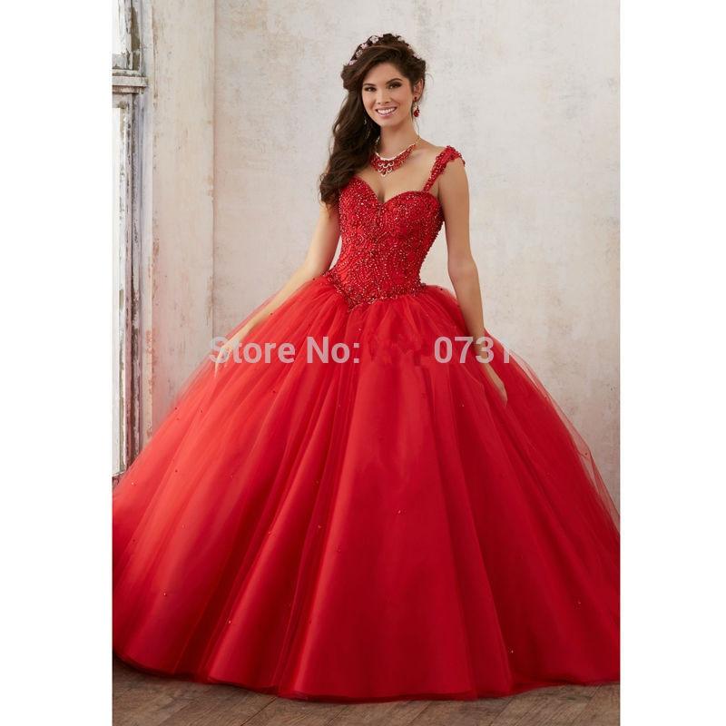 Rouge 2019 Quinceanera robes robe de bal chérie Tulle perles cristaux pas cher doux 16 robes
