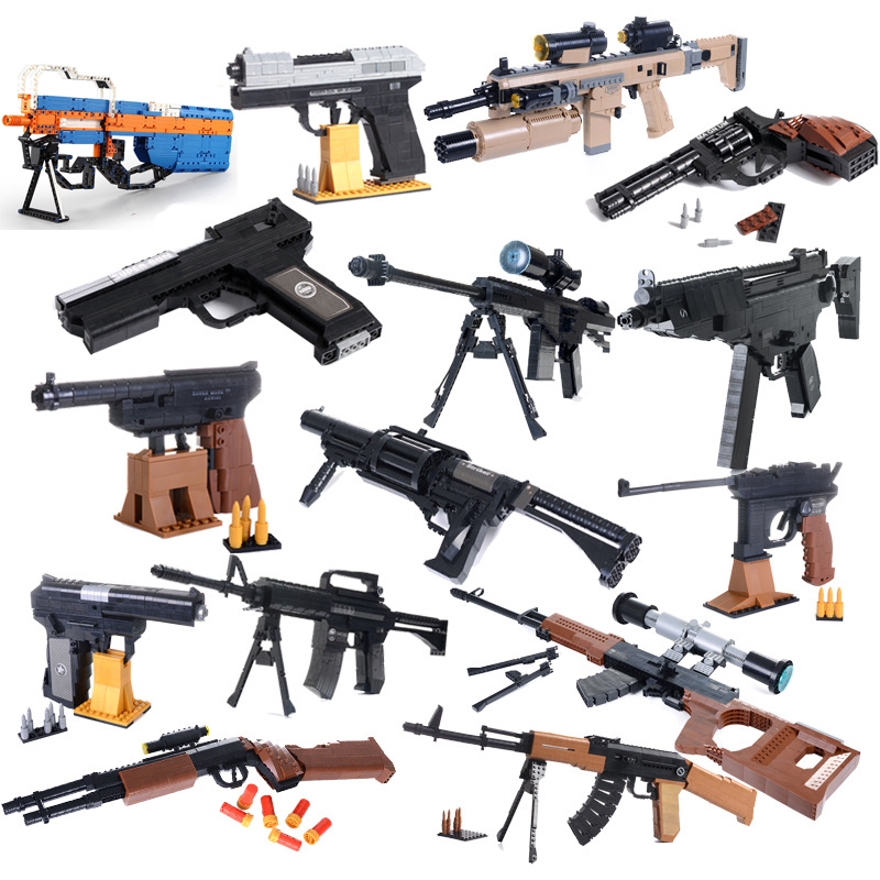 Compatible Legoed Technic Guns PUBG M4A1 UZI Kar 98K M6 AK47 Toys Rifle SWAT Military AKM Model Building Blocks Sets Ww2 Weapon
