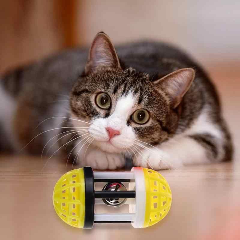 פלסטיק צבעוני חתול צעצוע לשחק חתלתול כיף משחקים חיות מחמד אינטראקטיבי מצחיק חתול פעמוני כדור צעצוע