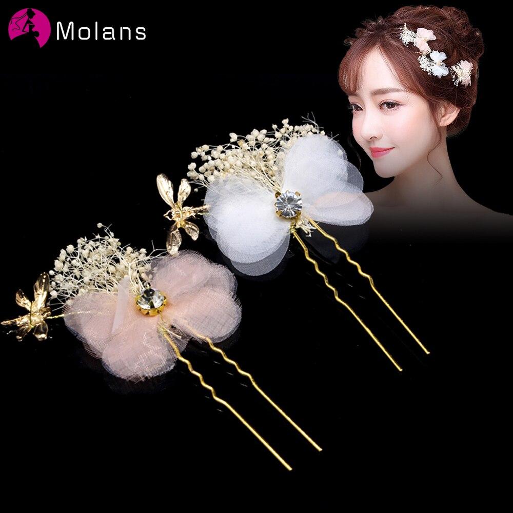 MOLANS Handmade Dragonfly Wedding Hairpins Crystal Bride Hair Pin Sticks Pink Bridal Hair Flower Clip For Women Hair Accessories