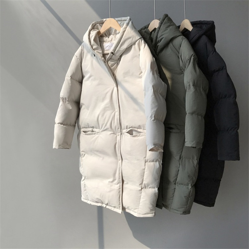 Parkas Padded Down-Jacket Basic-Outwear Hooded Long-Coat Lazy Warm Female Autumn Winter title=